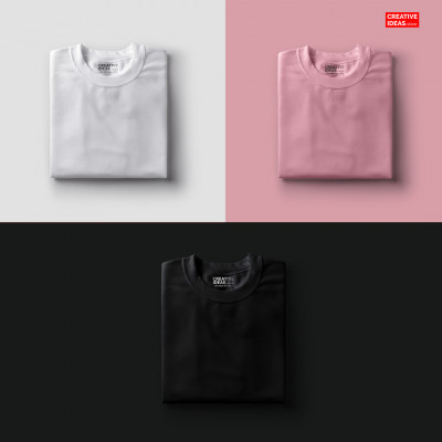 Pack Of 3 Solid T-Shirts White, Pink & Black