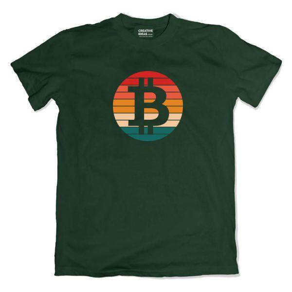 Retro Bitcoin Green Tshirt