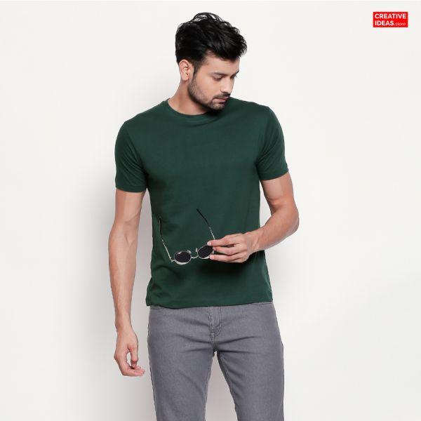 Green Plain Tshirt   100% Cotton Bio-washed