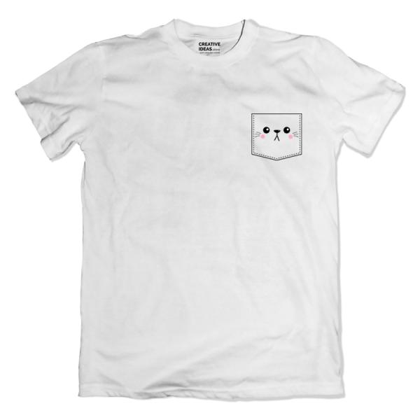 Kitty Pocket White Tshirt