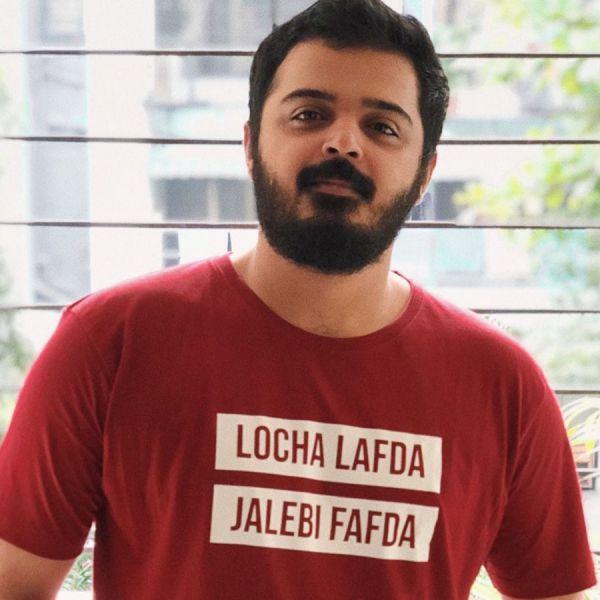 Locha Lafda Jalebi Fafda Maroon Tshirt