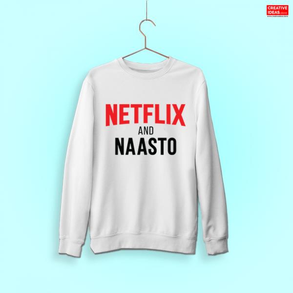 Official Netflix and Naasto White Sweatshirt by Viraj Ghelani - Creative Ideas