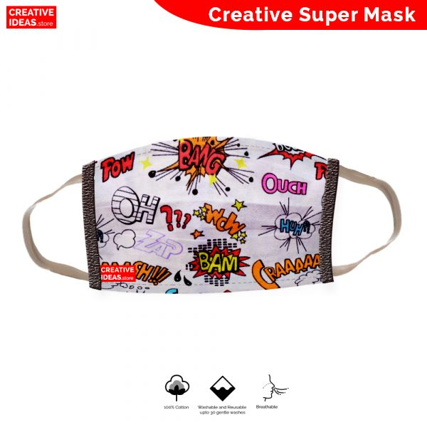 Donate & Get Reusable Cotton Designer Super Mask with Comic Print (pack of 3)