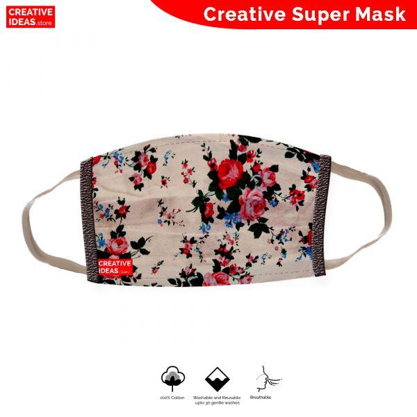 Donate & Get Reusable Cotton Designer Super Mask with Rose Print (pack of 3)