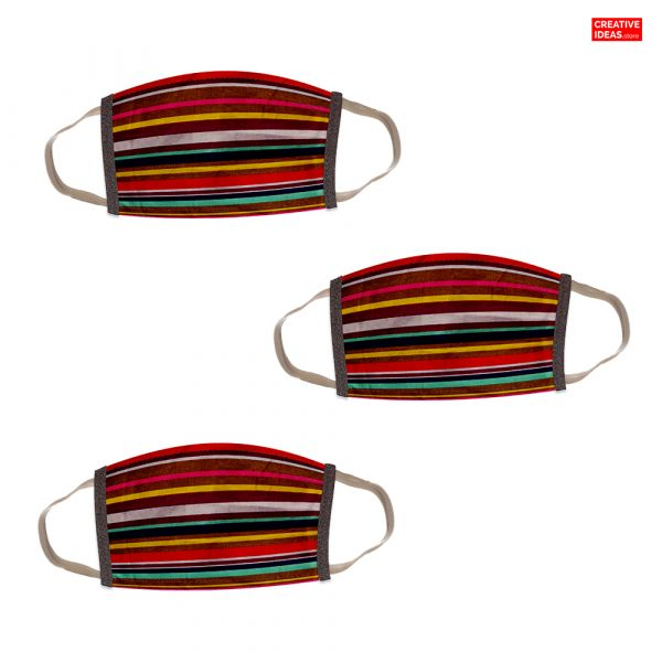 Donate & Get Reusable Cotton Designer Super Mask with Linear Print (pack of 3)