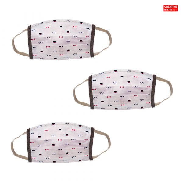 Donate & Get Reusable Cotton Designer Super Mask with Hats & Bow Print (pack of 3)