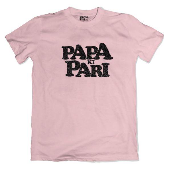 Papa Ki Pari Pink Glitter Tshirt by Yashraj Mukhate