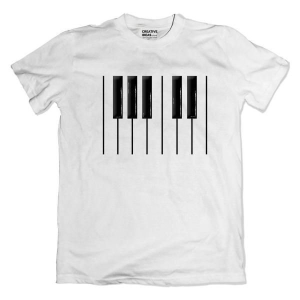Grand Piano White Tshirt by Yashraj Mukhate
