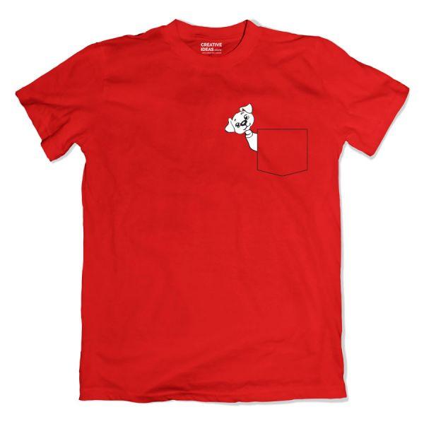 Sneak Peek Pet Pocket Red Tshirt