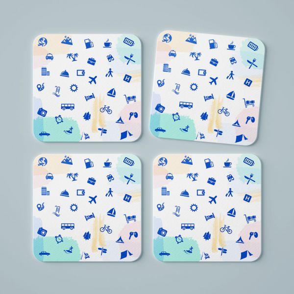 Travel Essential Tea Coaster by Aditi Raval - Creative Ideas (Set Of 4)