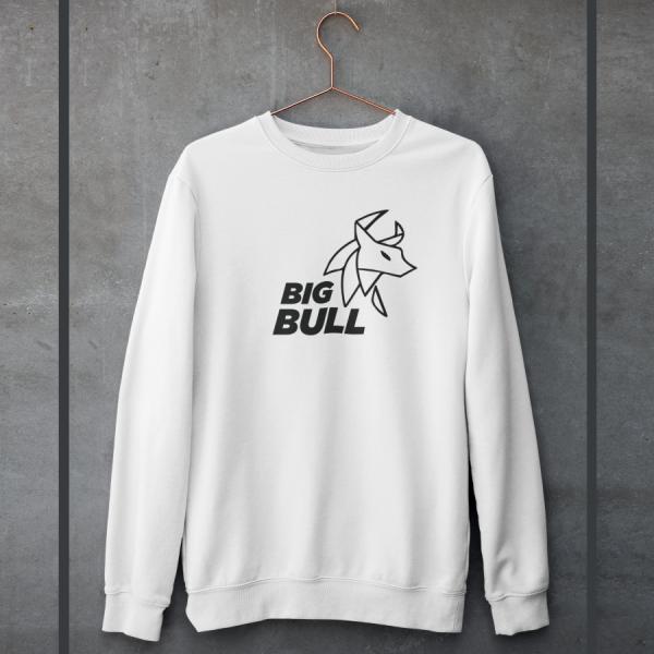 Big Bull White Unisex 100% Cotton Sweatshirt