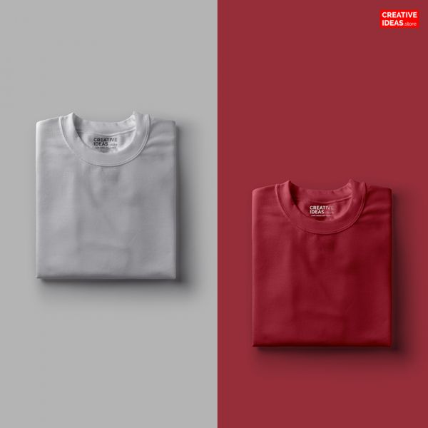 Pack Of 2 Solid T-Shirts Melange Grey and Maroon