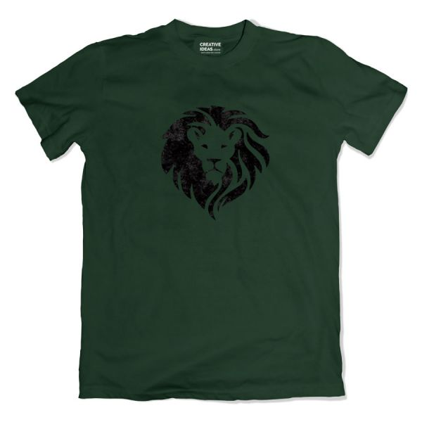 Roaring Lion with Flock Print Green Tshirt by Aditi Raval