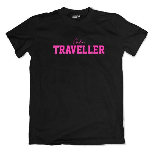 Solo Traveller Black Tshirt by Aditi Raval